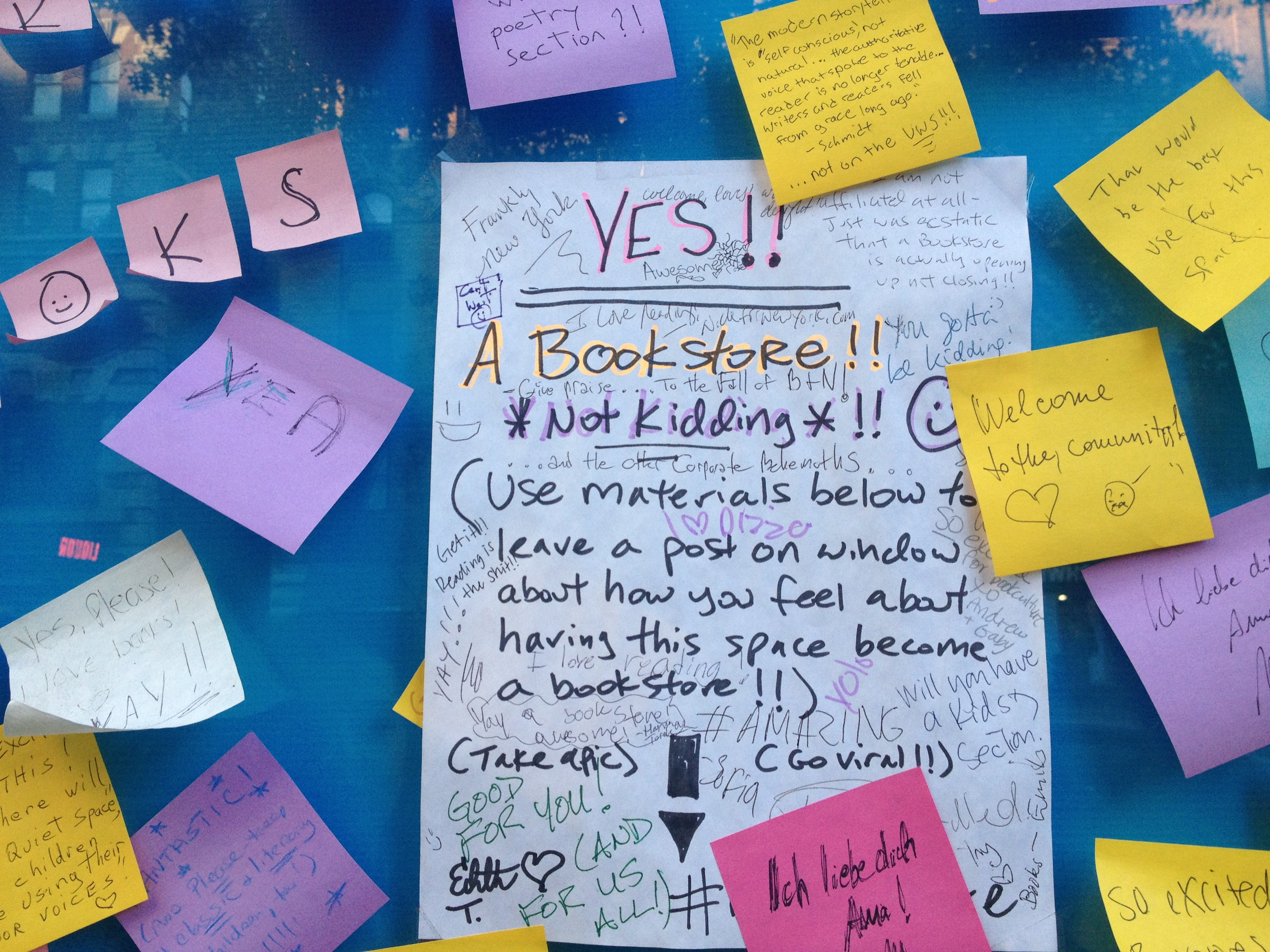 Book Culture invited neighbors to express their support for the new store. A sampling on the front window is shown.